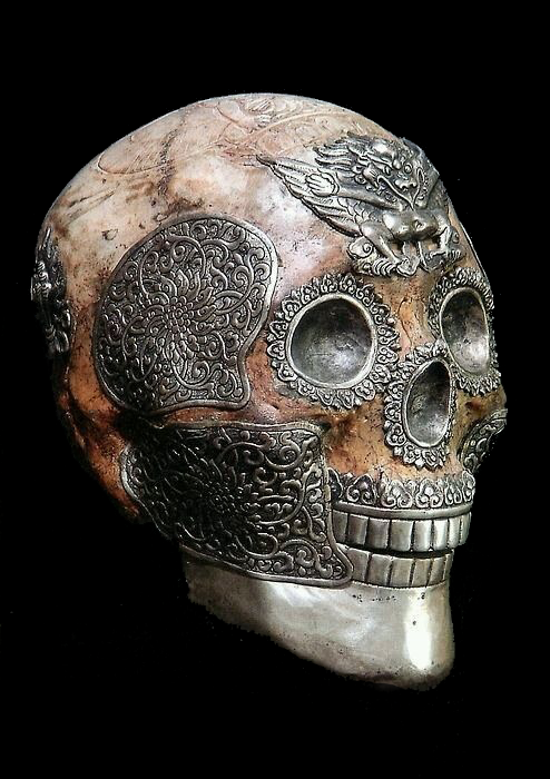 Decorated human skull used for religious purposes