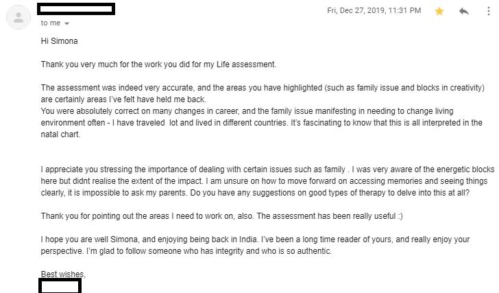 Anonymous astrology feedback