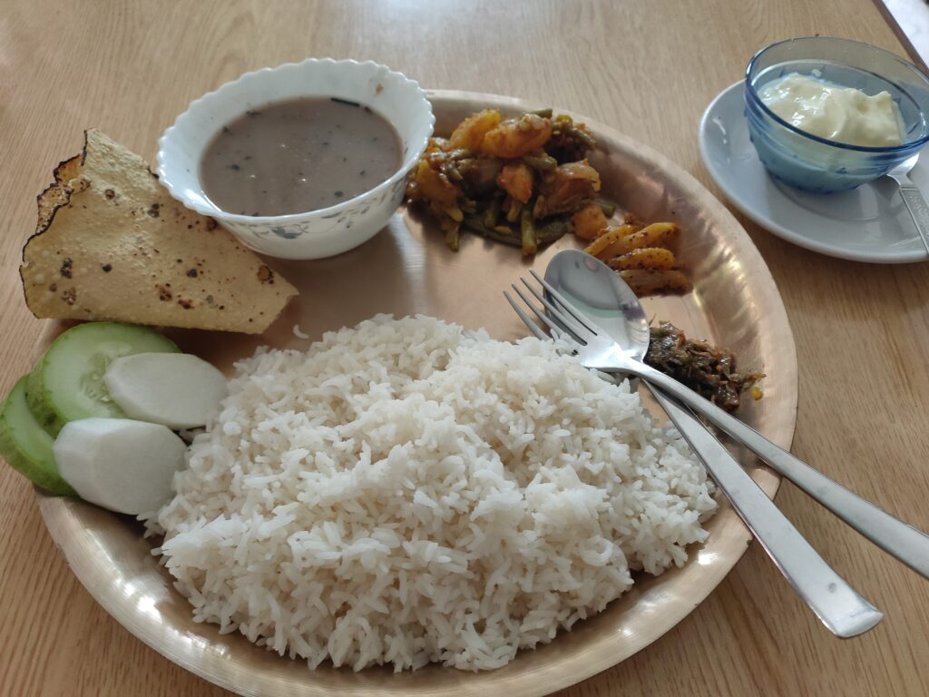 My last proper meal in Nepal was Dal Bhat - the most usual meal in Nepal.
